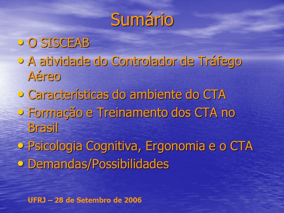 UFRJ – 28 de Setembro de 2006 Sumário O SISCEAB O SISCEAB A atividade do Controlador de Tráfego Aéreo A atividade do Controlador de Tráfego Aéreo Características do ambiente do CTA Características do ambiente do CTA Formação e Treinamento dos CTA no Brasil Formação e Treinamento dos CTA no Brasil Psicologia Cognitiva, Ergonomia e o CTA Psicologia Cognitiva, Ergonomia e o CTA Demandas/Possibilidades Demandas/Possibilidades