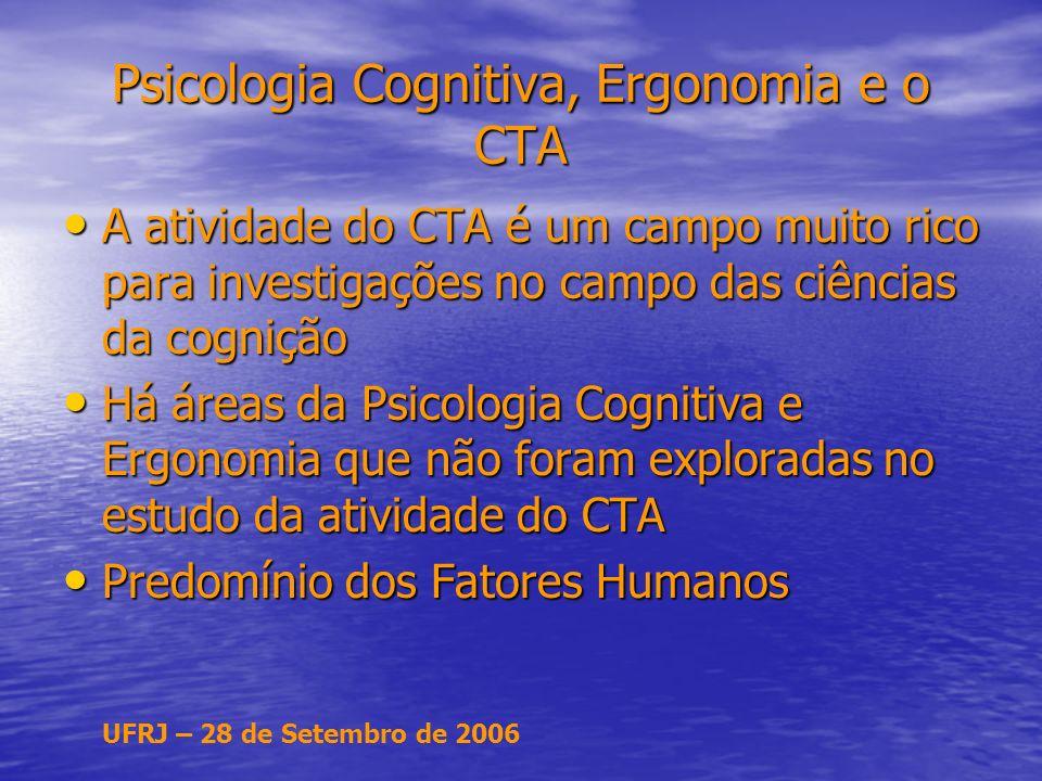 UFRJ – 28 de Setembro de 2006 Psicologia Cognitiva, Ergonomia e o CTA A atividade do CTA é um campo muito rico para investigações no campo das ciências da cognição A atividade do CTA é um campo muito rico para investigações no campo das ciências da cognição Há áreas da Psicologia Cognitiva e Ergonomia que não foram exploradas no estudo da atividade do CTA Há áreas da Psicologia Cognitiva e Ergonomia que não foram exploradas no estudo da atividade do CTA Predomínio dos Fatores Humanos Predomínio dos Fatores Humanos