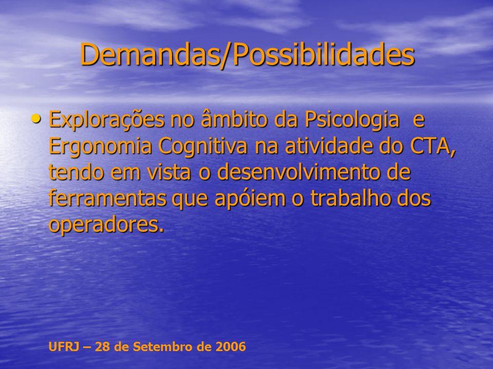 UFRJ – 28 de Setembro de 2006 Demandas/Possibilidades Explorações no âmbito da Psicologia e Ergonomia Cognitiva na atividade do CTA, tendo em vista o desenvolvimento de ferramentas que apóiem o trabalho dos operadores.