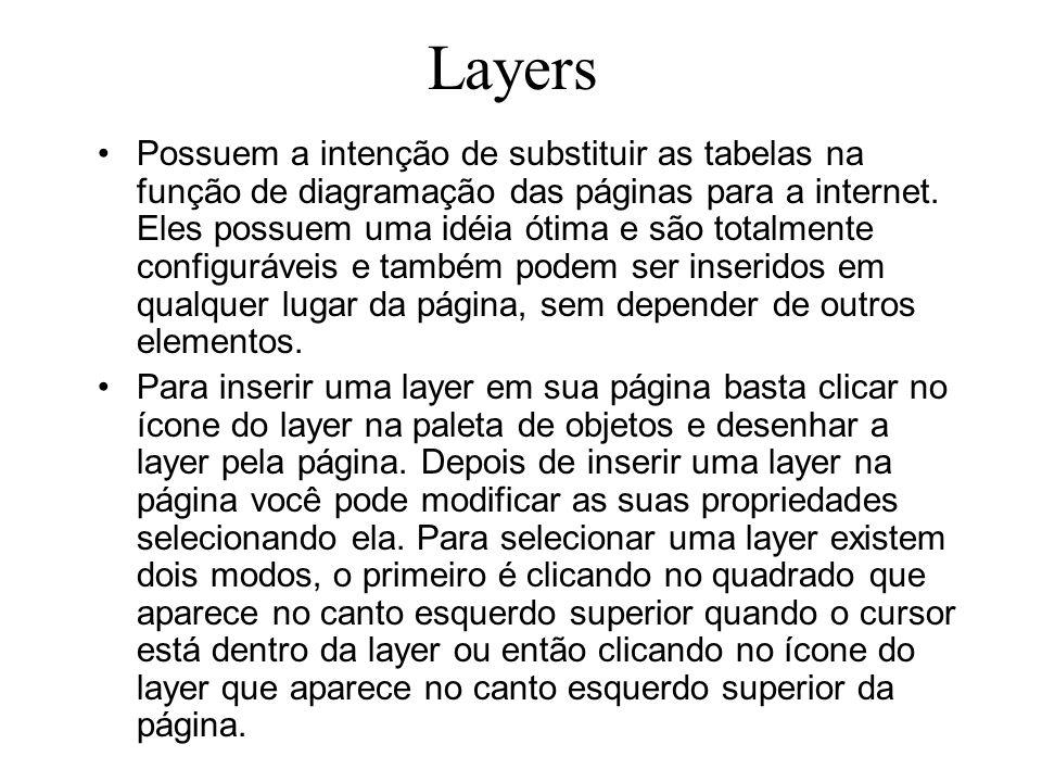 Outra maneira de selecionar um layer é através da janela Layers onde basta selecionar a layer pelo o seu nome que a layer é selecionada na página, esta maneira é muito útil para selecionar layers invisíveis.