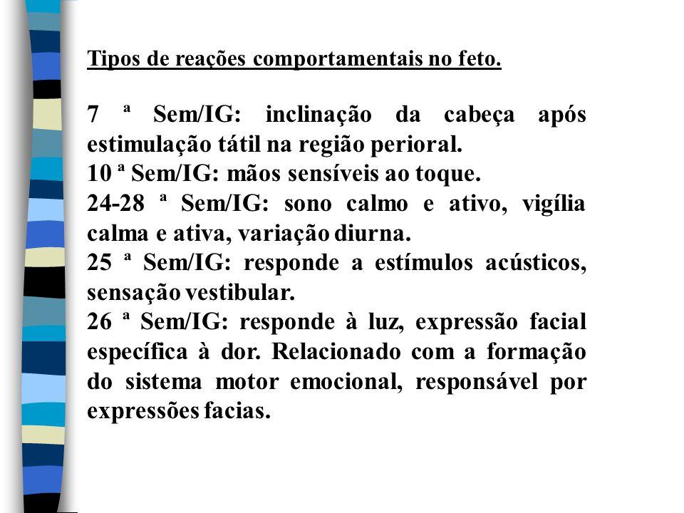 Tipos de reações comportamentais no feto. 7 ª Sem/IG: inclinação da cabeça após estimulação tátil na região perioral. 10 ª Sem/IG: mãos sensíveis ao t