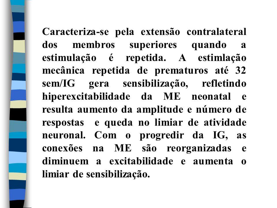 Caracteriza-se pela extensão contralateral dos membros superiores quando a estimulação é repetida. A estimlação mecânica repetida de prematuros até 32