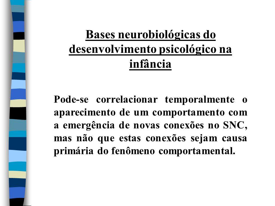 Bases neurobiológicas do desenvolvimento psicológico na infância Pode-se correlacionar temporalmente o aparecimento de um comportamento com a emergênc