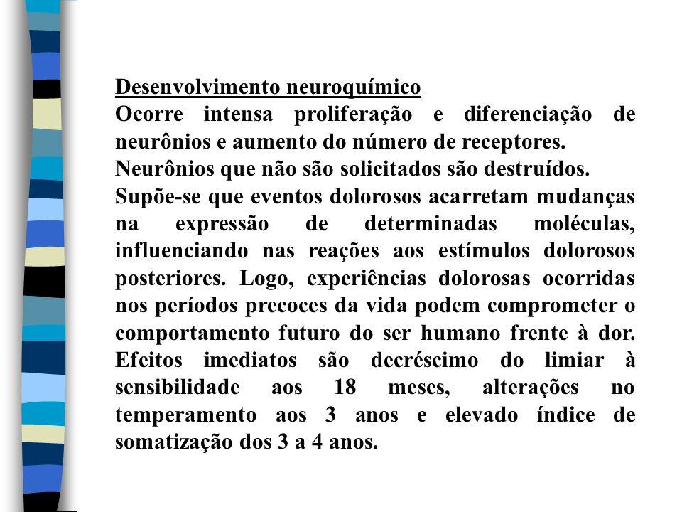 Desenvolvimento neuroquímico Ocorre intensa proliferação e diferenciação de neurônios e aumento do número de receptores. Neurônios que não são solicit