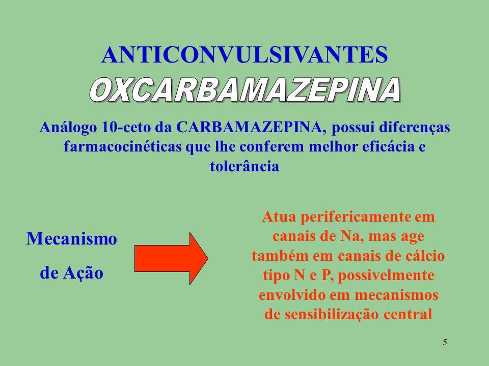 5 ANTICONVULSIVANTES Análogo 10-ceto da CARBAMAZEPINA, possui diferenças farmacocinéticas que lhe conferem melhor eficácia e tolerância Mecanismo de A