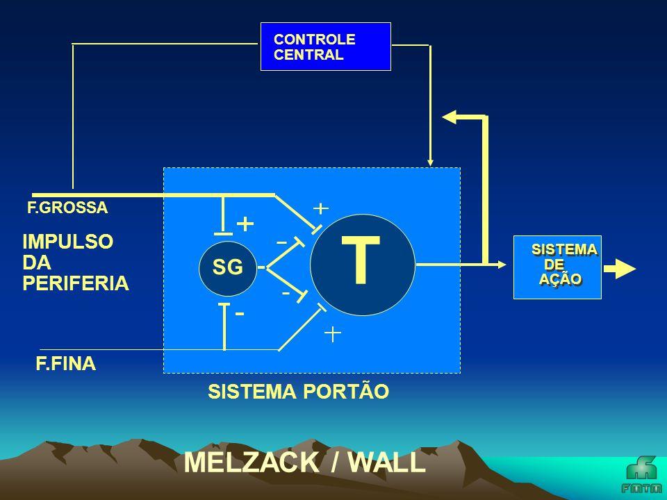 SG T CONTROLE INIBITORIO DESCENDENTE SISTEMA PORTÃO F.GROSSA F.FINA CONTROLE COGNITIVO SISTEMA DE AÇÃO + MELZACK / WALL / CASEY IMPULSO DA PERIFERIA