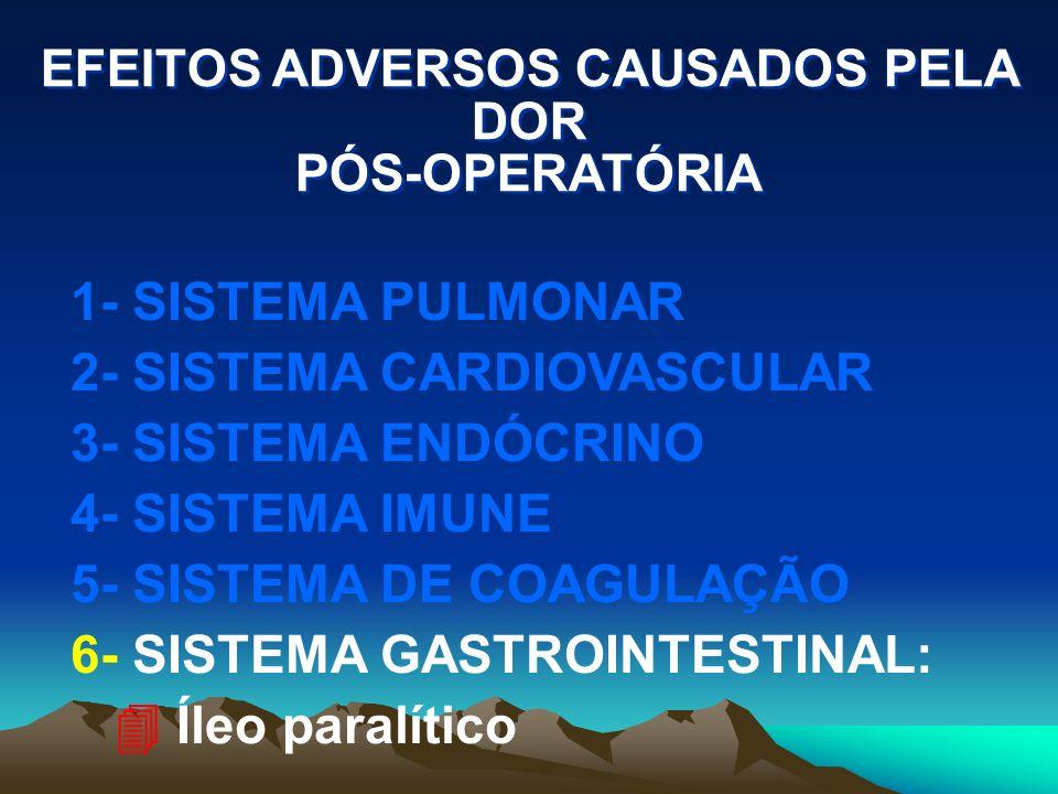 EFEITOS ADVERSOS CAUSADOS PELA DOR PÓS-OPERATÓRIA 1- SISTEMA PULMONAR 2- SISTEMA CARDIOVASCULAR 3- SISTEMA ENDÓCRINO 4- SISTEMA IMUNE 5- SISTEMA DE COAGULAÇÃO 6- SISTEMA GASTROINTESTINAL 7- SISTEMA GENITO-URINÁRIO: 4 Retenção urinária