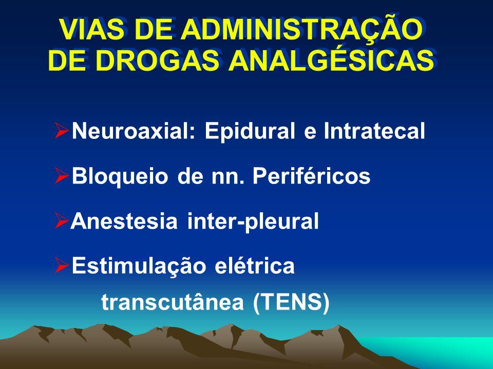 VIAS DE ADMINISTRAÇÃO DE DROGAS ANALGÉSICAS Neuroaxial: Epidural e Intratecal Bloqueio de nn. Periféricos Anestesia inter-pleural Estimulação elétrica
