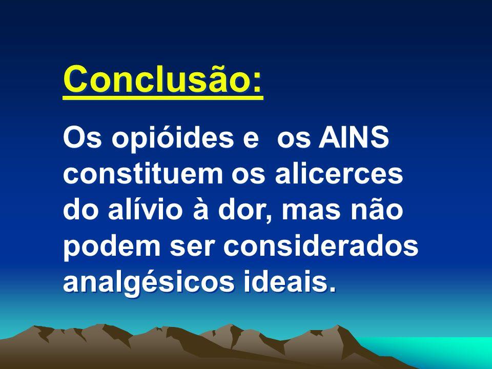 Conclusão: Os opióides e os AINS constituem os alicerces do alívio à dor, mas não podem ser considerados analgésicos ideais. Conclusão: Os opióides e