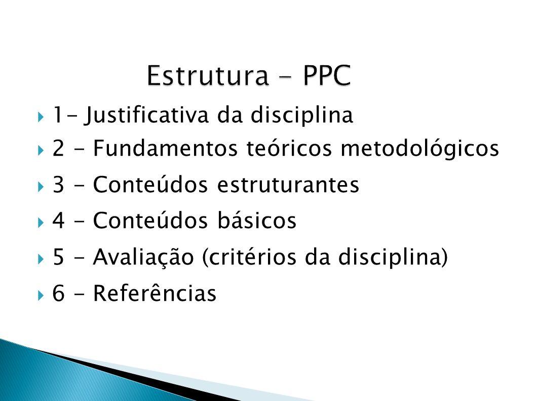 1- Justificativa da disciplina 2 - Fundamentos teóricos metodológicos 3 - Conteúdos estruturantes 4 - Conteúdos básicos 5 - Avaliação (critérios da di