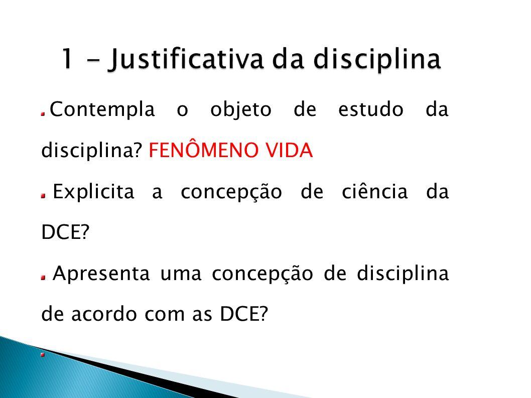 Contempla o objeto de estudo da disciplina? FENÔMENO VIDA Explicita a concepção de ciência da DCE? Apresenta uma concepção de disciplina de acordo com
