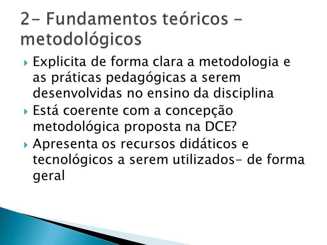 Explicita de forma clara a metodologia e as práticas pedagógicas a serem desenvolvidas no ensino da disciplina Está coerente com a concepção metodológ