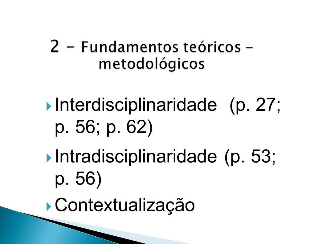 Interdisciplinaridade (p. 27; p. 56; p. 62) Intradisciplinaridade (p. 53; p. 56) Contextualização
