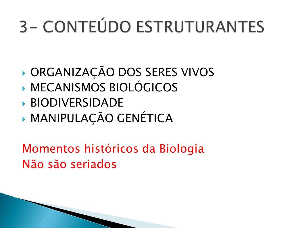 ORGANIZAÇÃO DOS SERES VIVOS MECANISMOS BIOLÓGICOS BIODIVERSIDADE MANIPULAÇÃO GENÉTICA Momentos históricos da Biologia Não são seriados