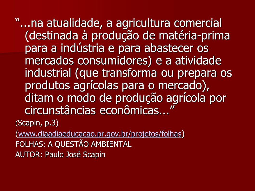 ...na atualidade, a agricultura comercial (destinada à produção de matéria-prima para a indústria e para abastecer os mercados consumidores) e a atividade industrial (que transforma ou prepara os produtos agrícolas para o mercado), ditam o modo de produção agrícola por circunstâncias econômicas...