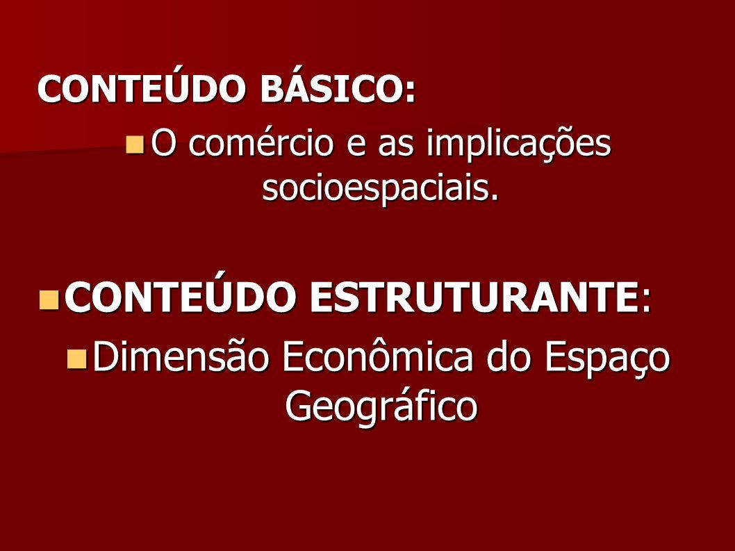 CONTEÚDO BÁSICO: O comércio e as implicações socioespaciais. O comércio e as implicações socioespaciais. CONTEÚDO ESTRUTURANTE: CONTEÚDO ESTRUTURANTE: