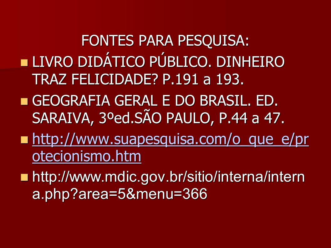 FONTES PARA PESQUISA: LIVRO DIDÁTICO PÚBLICO. DINHEIRO TRAZ FELICIDADE? P.191 a 193. LIVRO DIDÁTICO PÚBLICO. DINHEIRO TRAZ FELICIDADE? P.191 a 193. GE