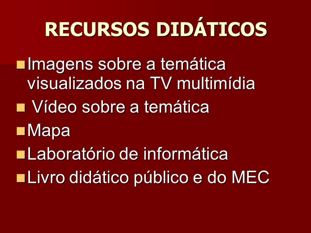 RECURSOS DIDÁTICOS Imagens sobre a temática visualizados na TV multimídia Imagens sobre a temática visualizados na TV multimídia Vídeo sobre a temática Vídeo sobre a temática Mapa Mapa Laboratório de informática Laboratório de informática Livro didático público e do MEC Livro didático público e do MEC