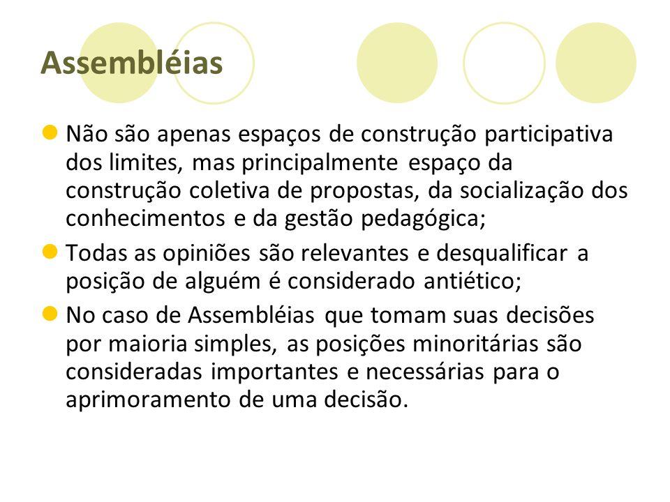 Assembléias Não são apenas espaços de construção participativa dos limites, mas principalmente espaço da construção coletiva de propostas, da socializ