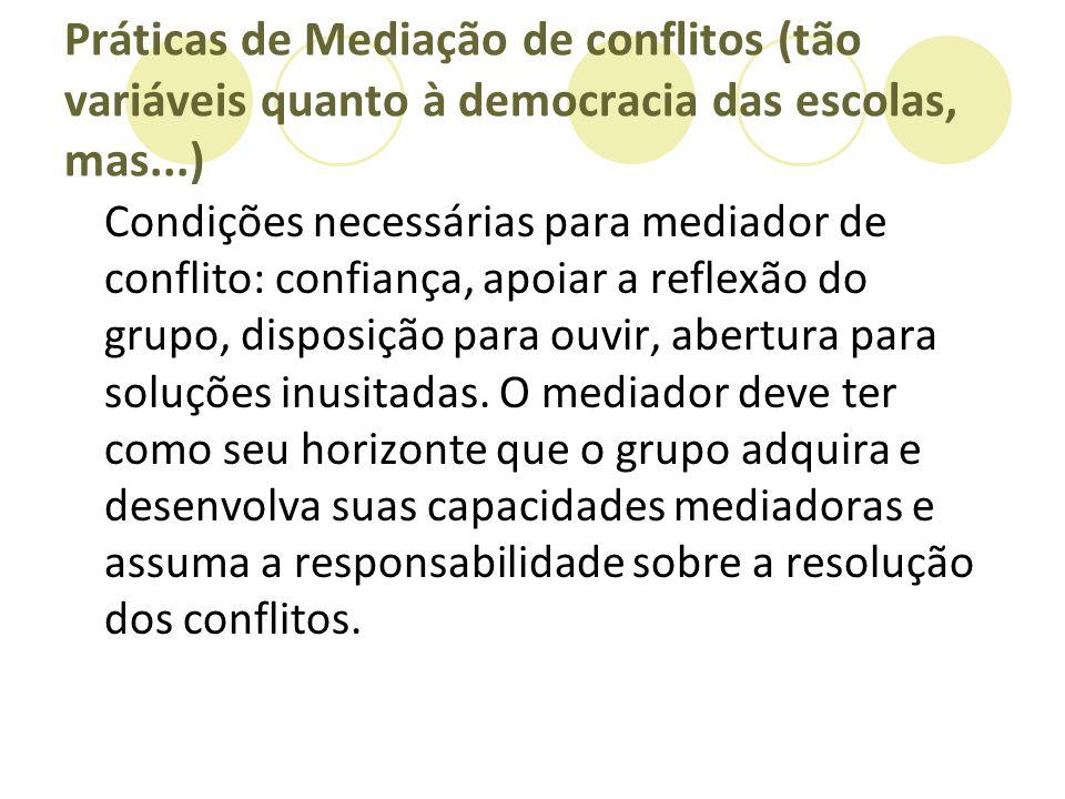 Práticas de Mediação de conflitos (tão variáveis quanto à democracia das escolas, mas...) Condições necessárias para mediador de conflito: confiança,