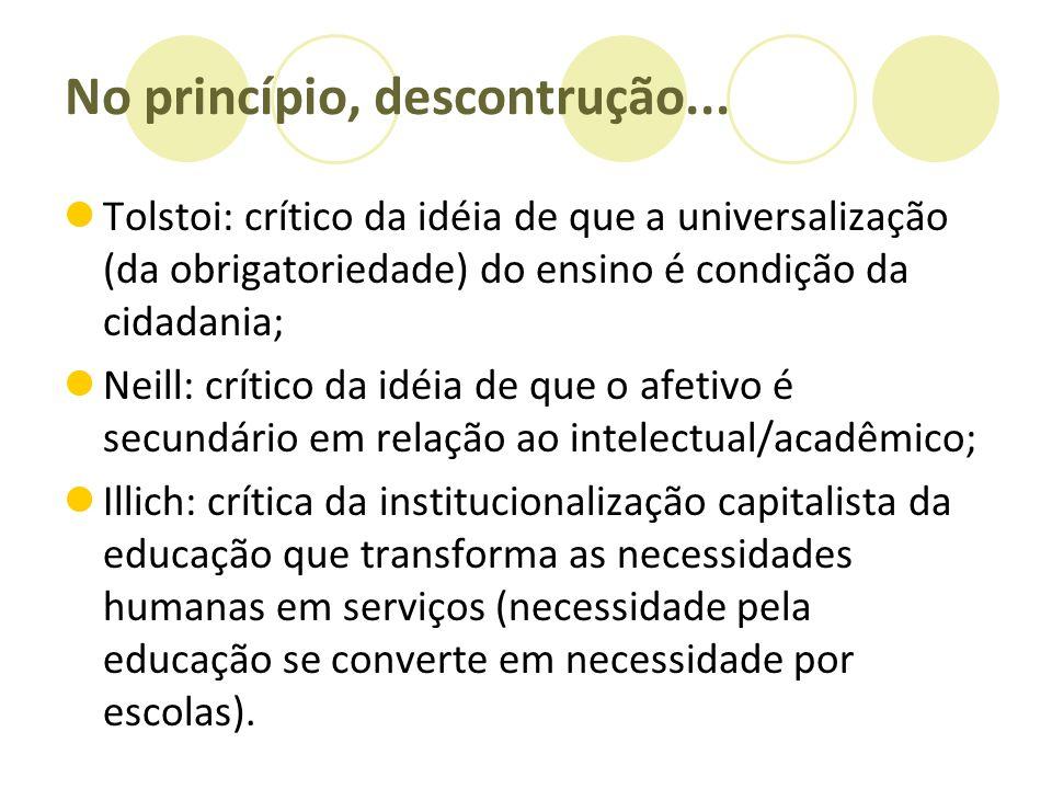 No princípio, descontrução... Tolstoi: crítico da idéia de que a universalização (da obrigatoriedade) do ensino é condição da cidadania; Neill: crític