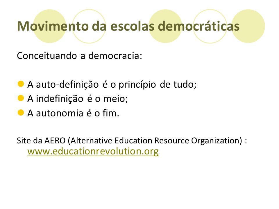 Movimento da escolas democráticas Conceituando a democracia: A auto-definição é o princípio de tudo; A indefinição é o meio; A autonomia é o fim. Site