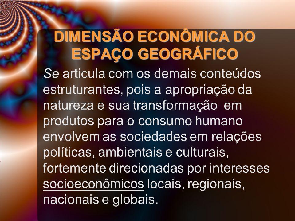 DIMENSÃO ECONÔMICA DO ESPAÇO GEOGRÁFICO Se articula com os demais conteúdos estruturantes, pois a apropriação da natureza e sua transformação em produ