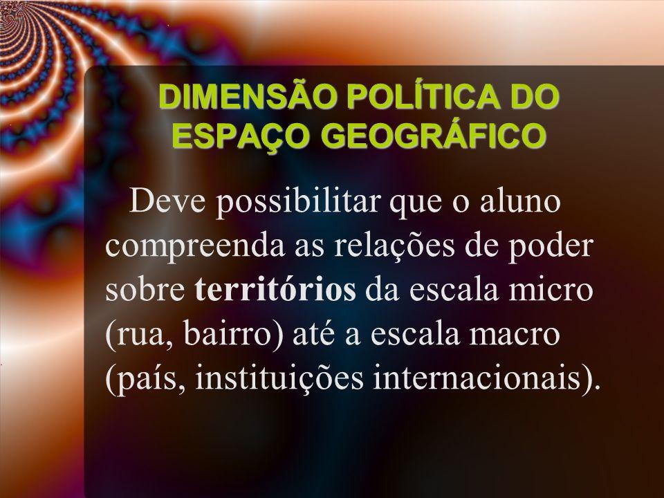 DIMENSÃO POLÍTICA DO ESPAÇO GEOGRÁFICO Deve possibilitar que o aluno compreenda as relações de poder sobre territórios da escala micro (rua, bairro) a