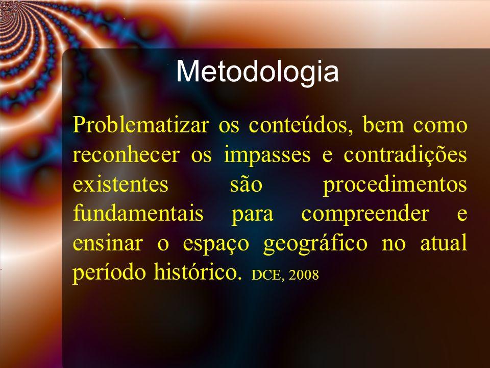 Metodologia Problematizar os conteúdos, bem como reconhecer os impasses e contradições existentes são procedimentos fundamentais para compreender e en