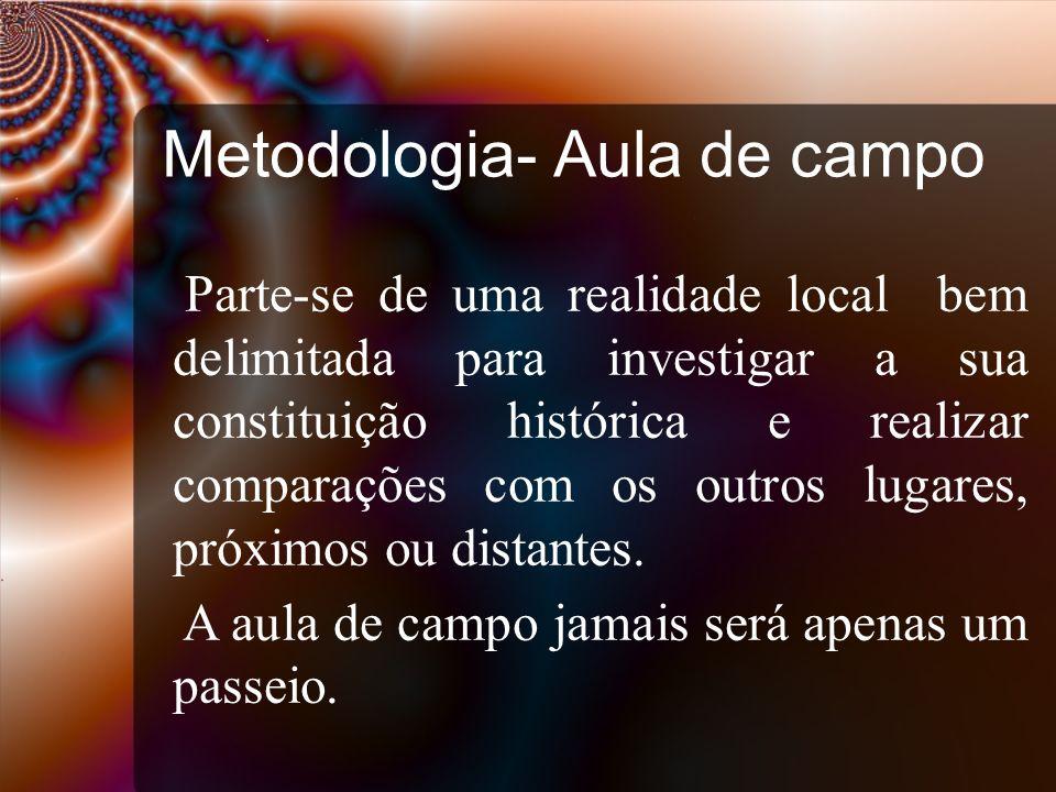 Metodologia- Aula de campo Parte-se de uma realidade local bem delimitada para investigar a sua constituição histórica e realizar comparações com os o