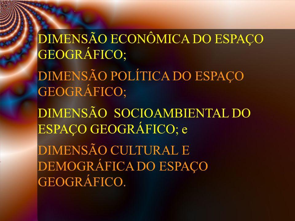 DIMENSÃO ECONÔMICA DO ESPAÇO GEOGRÁFICO; DIMENSÃO POLÍTICA DO ESPAÇO GEOGRÁFICO; DIMENSÃO SOCIOAMBIENTAL DO ESPAÇO GEOGRÁFICO; e DIMENSÃO CULTURAL E D