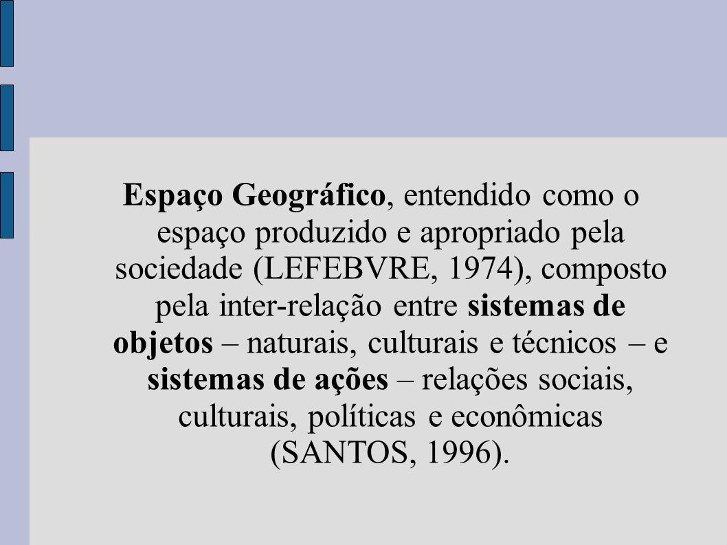 Espaço Geográfico, entendido como o espaço produzido e apropriado pela sociedade (LEFEBVRE, 1974), composto pela inter-relação entre sistemas de objet