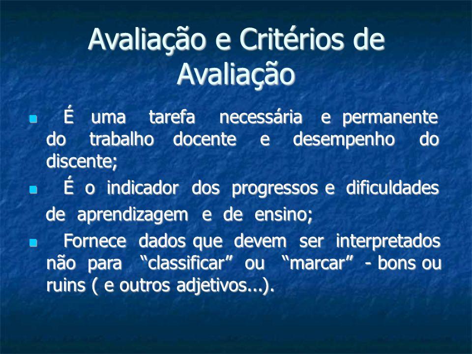 Avaliação e Critérios de Avaliação É uma tarefa necessária e permanente do trabalho docente e desempenho do discente; É uma tarefa necessária e perman
