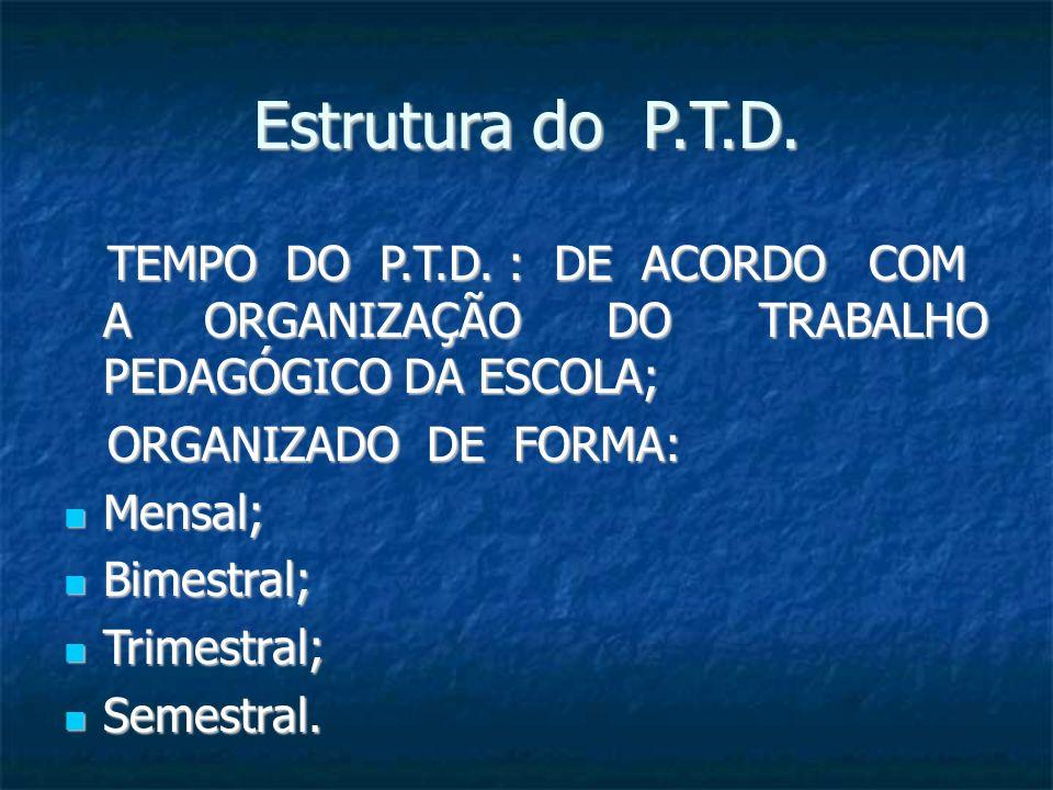 Estrutura do P.T.D. TEMPO DO P.T.D. : DE ACORDO COM A ORGANIZAÇÃO DO TRABALHO PEDAGÓGICO DA ESCOLA; TEMPO DO P.T.D. : DE ACORDO COM A ORGANIZAÇÃO DO T
