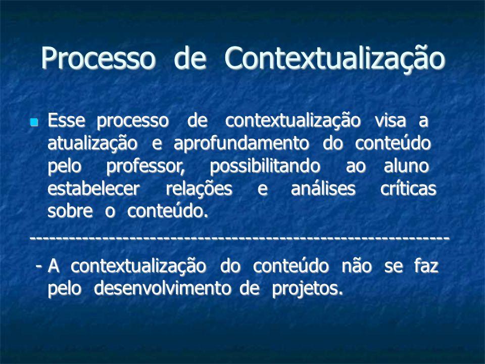 Processo de Contextualização Esse processo de contextualização visa a atualização e aprofundamento do conteúdo pelo professor, possibilitando ao aluno