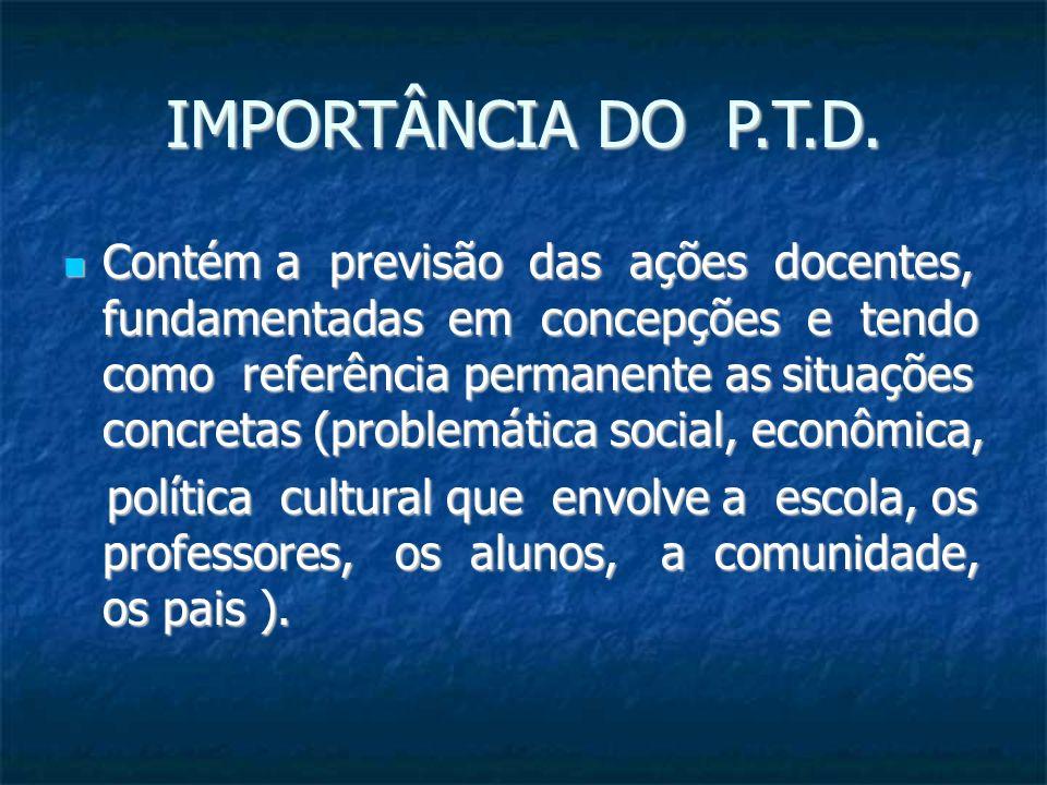 IMPORTÂNCIA DO P.T.D. Contém a previsão das ações docentes, fundamentadas em concepções e tendo como referência permanente as situações concretas (pro