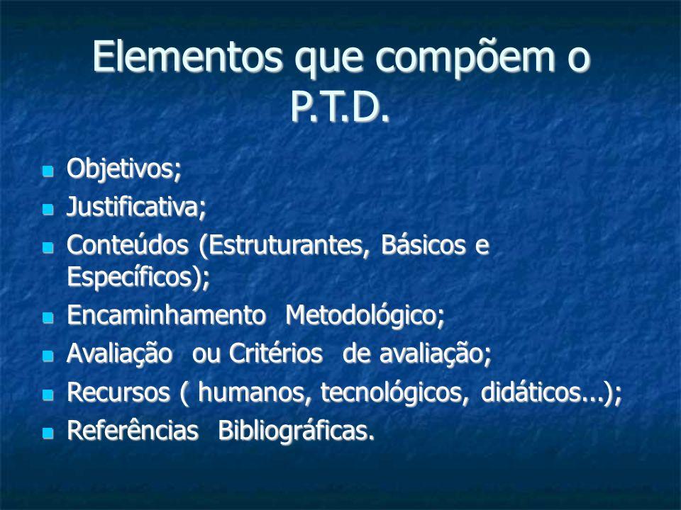 Elementos que compõem o P.T.D. Objetivos; Objetivos; Justificativa; Justificativa; Conteúdos (Estruturantes, Básicos e Específicos); Conteúdos (Estrut