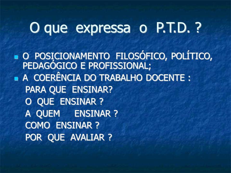 O que expressa o P.T.D. ? O POSICIONAMENTO FILOSÓFICO, POLÍTICO, PEDAGÓGICO E PROFISSIONAL; O POSICIONAMENTO FILOSÓFICO, POLÍTICO, PEDAGÓGICO E PROFIS