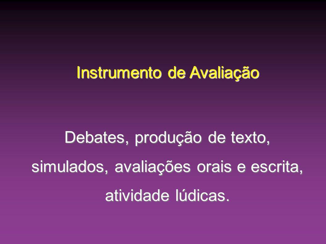 Instrumento de Avaliação Debates, produção de texto, simulados, avaliações orais e escrita, atividade lúdicas.