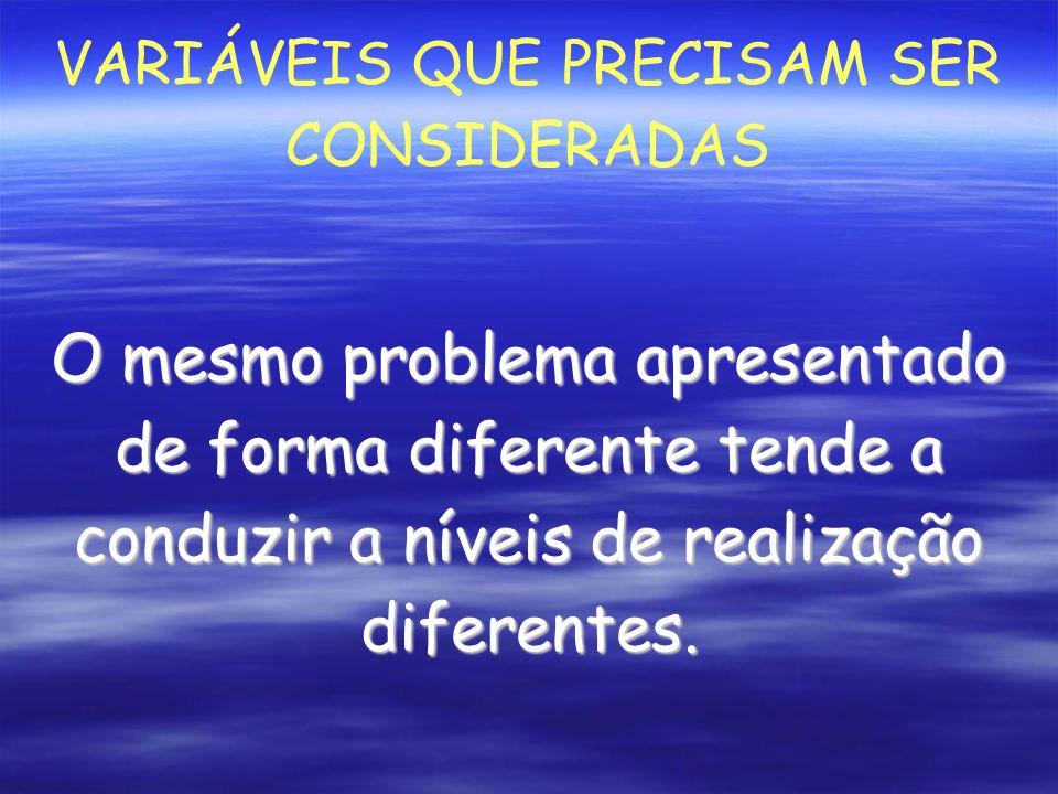 VARIÁVEIS QUE PRECISAM SER CONSIDERADAS O mesmo problema apresentado de forma diferente tende a conduzir a níveis de realização diferentes.