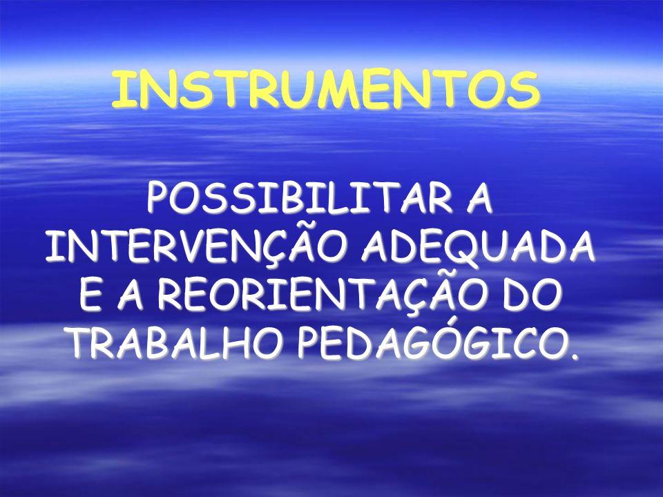 INSTRUMENTOS POSSIBILITAR A INTERVENÇÃO ADEQUADA E A REORIENTAÇÃO DO TRABALHO PEDAGÓGICO.