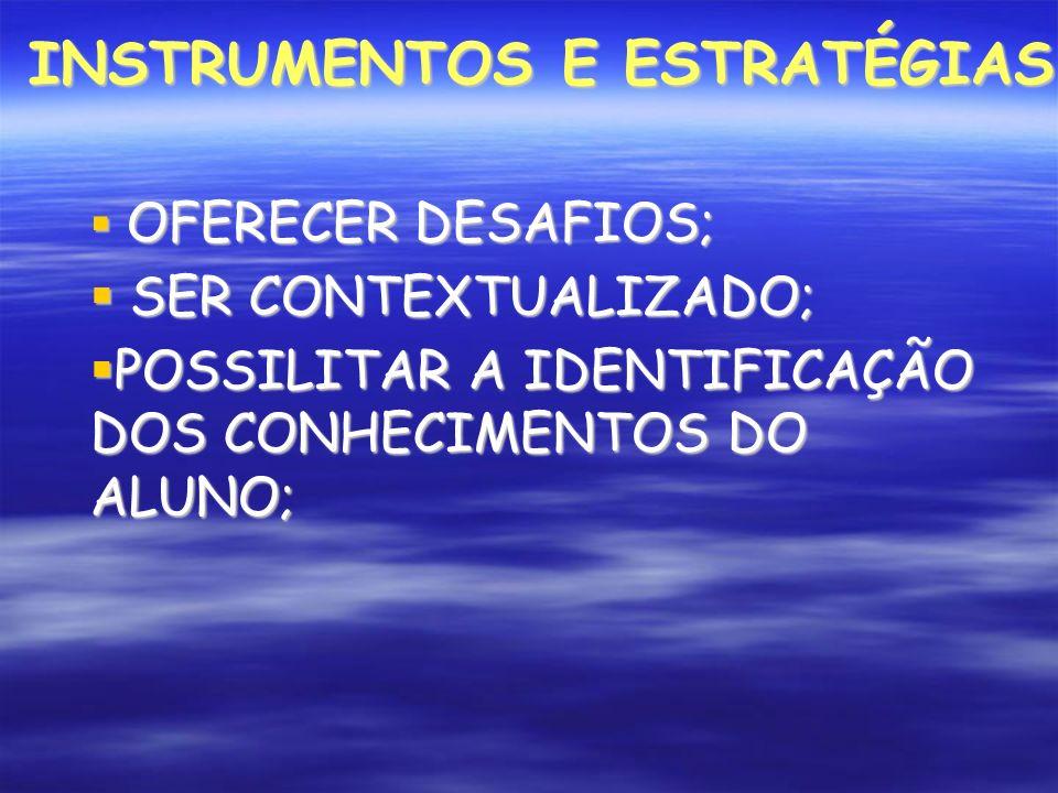 INSTRUMENTOS E ESTRATÉGIAS OFERECER DESAFIOS; OFERECER DESAFIOS; SER CONTEXTUALIZADO; SER CONTEXTUALIZADO; POSSILITAR A IDENTIFICAÇÃO DOS CONHECIMENTOS DO ALUNO; POSSILITAR A IDENTIFICAÇÃO DOS CONHECIMENTOS DO ALUNO;