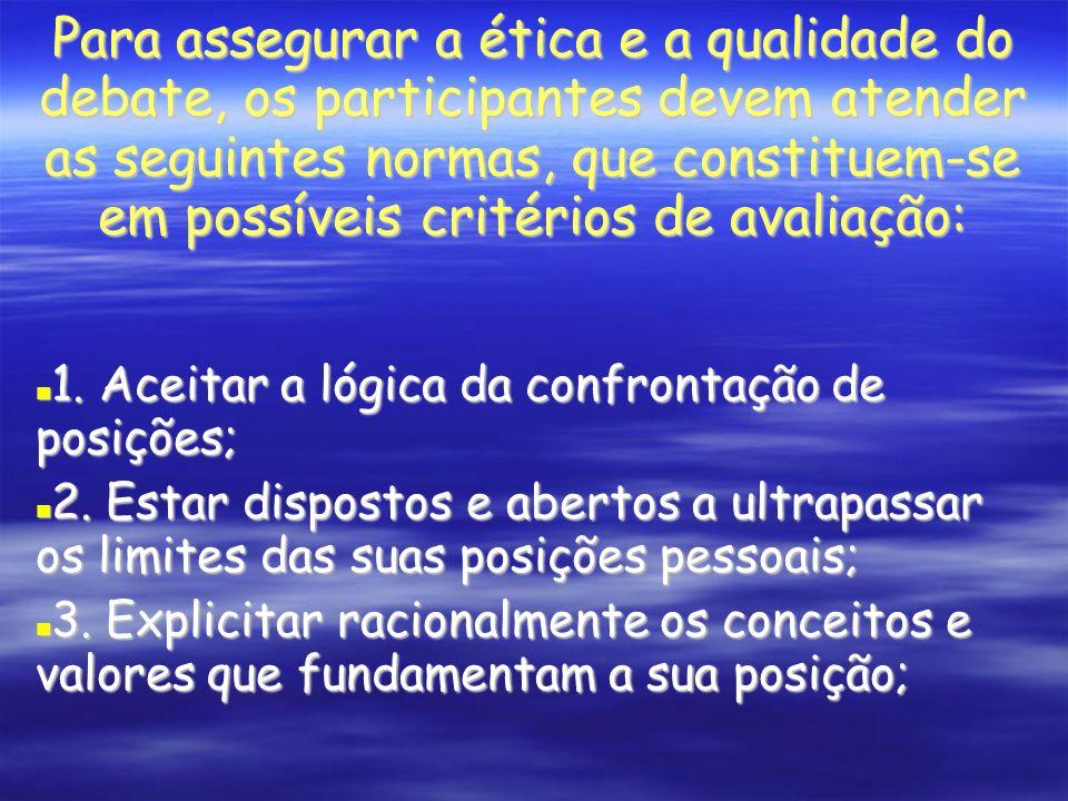 Para assegurar a ética e a qualidade do debate, os participantes devem atender as seguintes normas, que constituem-se em possíveis critérios de avaliação: 1.
