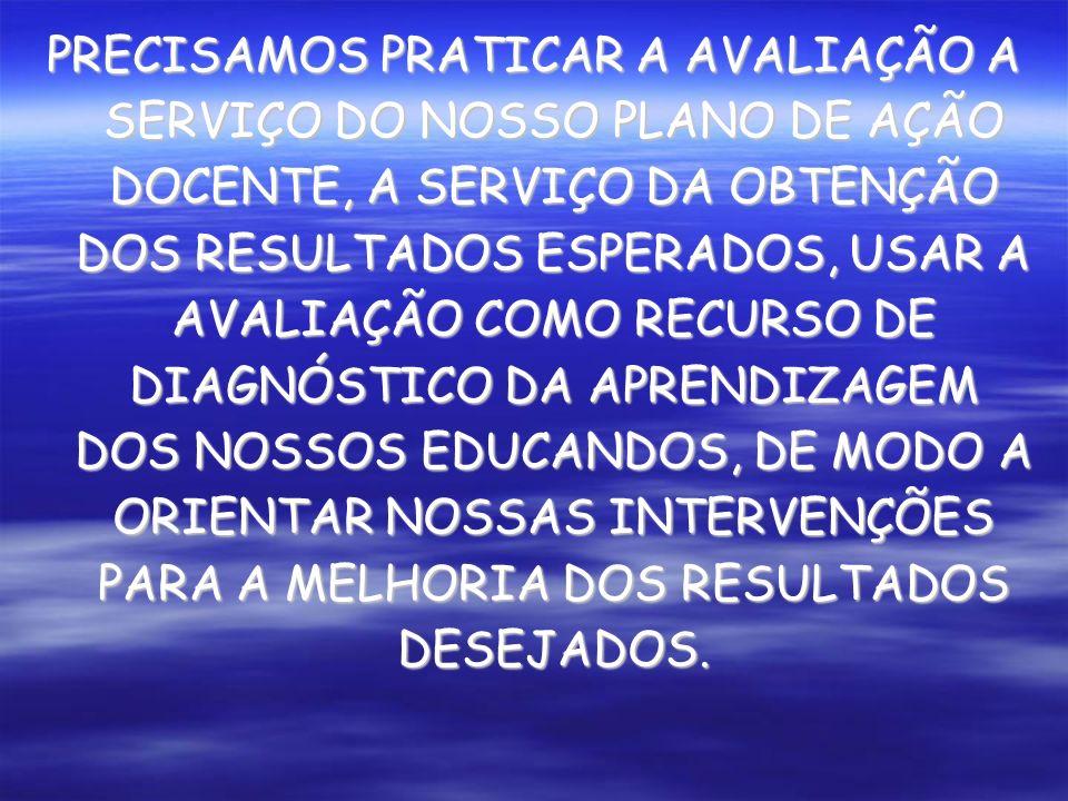 PRECISAMOS PRATICAR A AVALIAÇÃO A SERVIÇO DO NOSSO PLANO DE AÇÃO DOCENTE, A SERVIÇO DA OBTENÇÃO DOS RESULTADOS ESPERADOS, USAR A AVALIAÇÃO COMO RECURSO DE DIAGNÓSTICO DA APRENDIZAGEM DOS NOSSOS EDUCANDOS, DE MODO A ORIENTAR NOSSAS INTERVENÇÕES PARA A MELHORIA DOS RESULTADOS DESEJADOS.