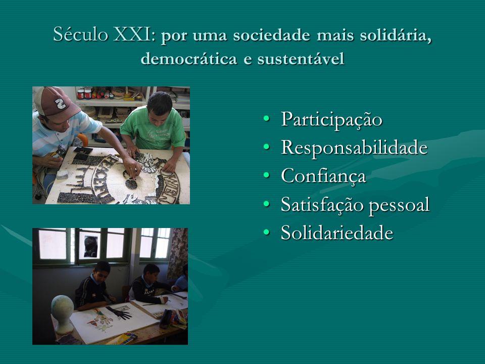 Século XXI: por uma sociedade mais solidária, democrática e sustentável Participação Responsabilidade Confiança Satisfação pessoal Solidariedade