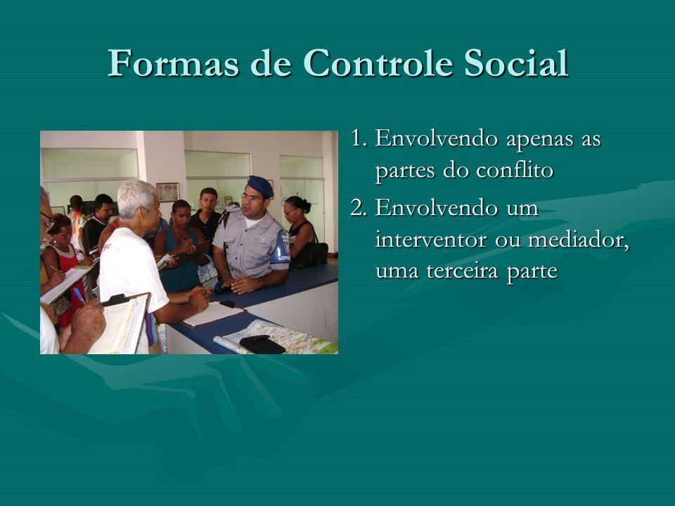 Formas de Controle Social 1. Envolvendo apenas as partes do conflito 2.