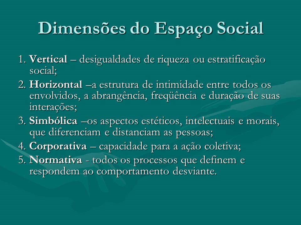 Dimensões do Espaço Social 1. Vertical – desigualdades de riqueza ou estratificação social; 2.