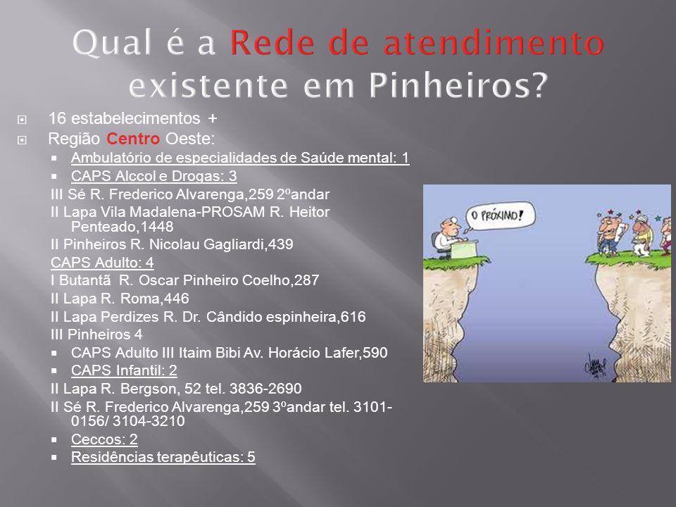 Qual é a Rede de atendimento existente em Pinheiros? 16 estabelecimentos + Região Centro Oeste: Ambulatório de especialidades de Saúde mental: 1 CAPS