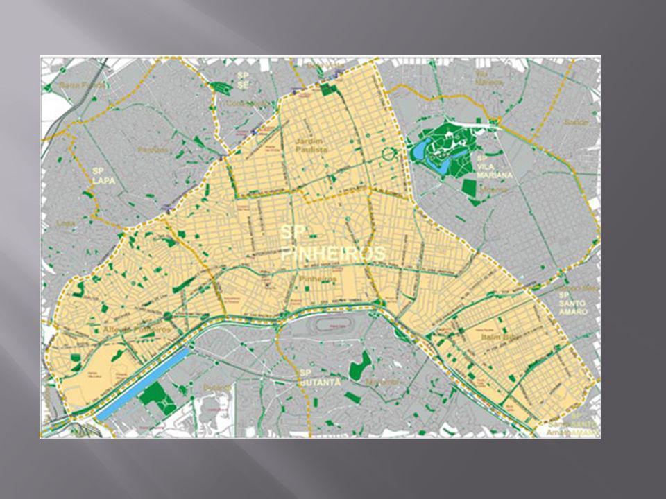 Principais dados demográficos Distritos Área (km²) População residente (2000) Densidade Demográfica (Hab/km²) IDH Alto de Pinheiros7,5244.4175906,520,810 Itaim Bibi10,0282.6578249,200,850 Jardim Paulista6,2581.33113012,960,811 Pinheiros8,2732.3933916,930,833 Subprefeitura Pinheiros32,06240.7987510,850,823 Fonte: IBGE Censo 2000, Secretaria do Desenvolvimento Trabalho e Solidariedade, 2002