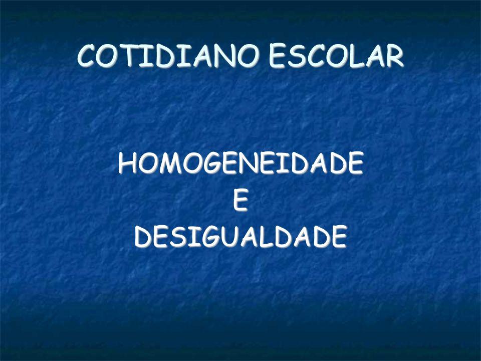 HOMOGENEIDADEEDESIGUALDADE COTIDIANO ESCOLAR